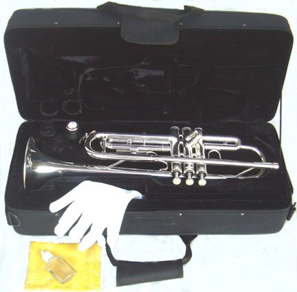 ymc trumpet new concert band real silver plated trumpet with case arts entertainment hobbies. Black Bedroom Furniture Sets. Home Design Ideas
