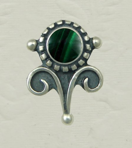 Malachite Sterling Silver Vicorian Stud Earrings When You Need Just a Little Bit of Color