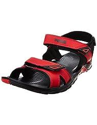 Puma Men's Vesta Sdl Dp Black And High Risk Red Sandals And Floaters - 9 UK