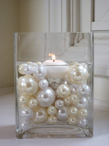 Wholesale Elegant Vase Fillers - Oversized Ivory Pearl Beads and White Pearl Beads - 1 Pack - Unique Decorative Gems