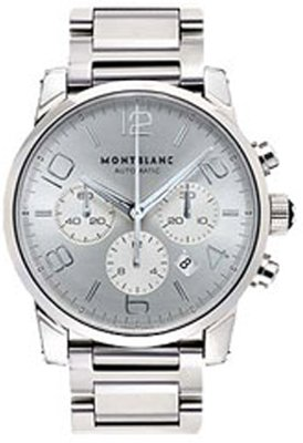 Montblanc Silver Dial Steel Mens Watch 9669