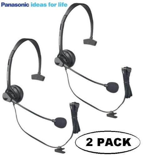 Panasonic Hands-Free Headset With Comfort Fit Headband 2 Pack For The Panasonic Kx-Tg7642M - Kx-Tg7643M - Kx-Tg7644M & Kx-Tg7645M Dect 6.0 Link-To-Cell Via Bluetooth Cordless Phone Answering System Metallic Gray