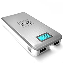 ActionPie Qi Wireless 12000mAH Power Bank with Dual USB Port and LCD Display for Galaxy S6, iphone6 - Silver