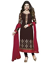 Mandani Fashion women's Fuax Georgette Party Wear Unstitched dress material(SF146_Brown color)