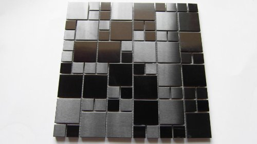 STAINLESS STEEL SQUARES WALL MOSAIC TILE OR BACKSPLASH MOSAIC TILE in Anodized Black Color