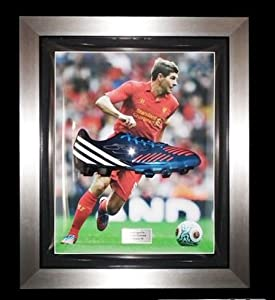 Signed Steven Gerrard Framed Adidas TRX Blue Football Boot R- Liverpool FC - Memorabilia from MemorabiliaOutlet