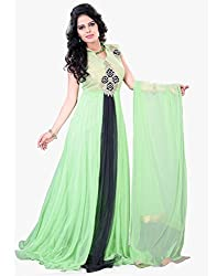 Surat Tex Light Green Color Hand Net & Velvet Stitched Gown