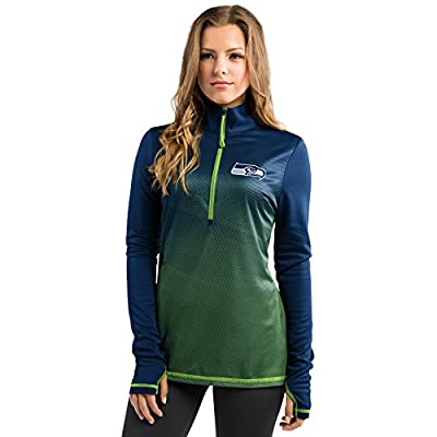 Seattle Seahawks Play Action Women's Navy 1/2 Zip Pullover