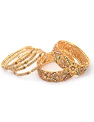 Raniya's Antique Collection Golden Color Broad Bangle And Bangle Set For Women