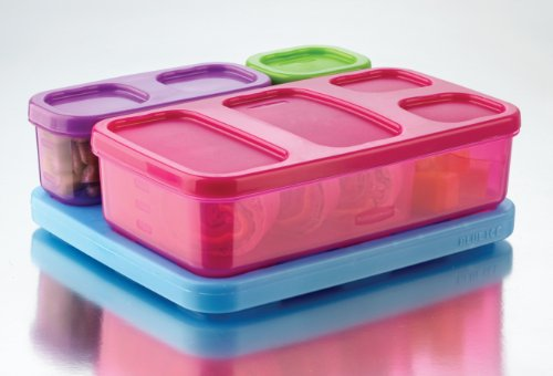 Rubbermaid LunchBlox Kid's Flat Lunch Box Kit, Purple/Pink/Green