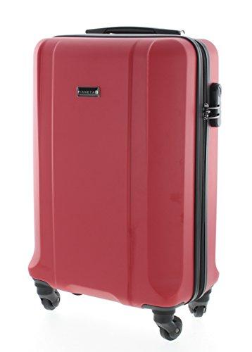 Pianeta / Boston Trolley valigia da viaggio bagaglio a mano valigia guscio rigido 100% ABS (rosso L (65cm))