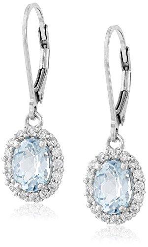 Sterling Silver Oval Blue Topaz Halo Leverback Earrings