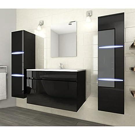 NEPTUNE Salle de bain complete simple vasque 80 cm avec éclairage LED - Noir brillant