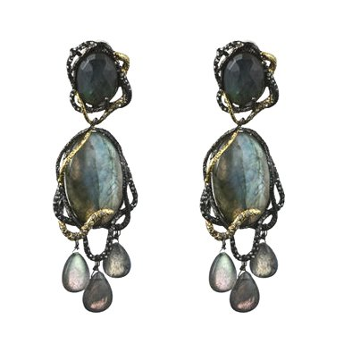 Large Labradorite Chandelier Clip Earrings By Alexis Bittar