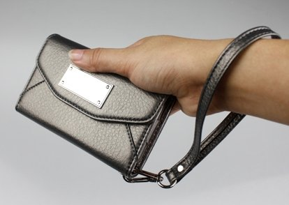 Wallet Clutch For Iphone 5 With Camera Hole In Charcoal Grey Ship From U.S.A.