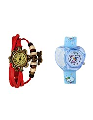 ANALOG KIDS WATCH WITH HELLO KITTY CARTOON PRINTED ON DIAL AND STRAP WITH FREE RED WOMAN BRACELET WATCH - B01BF43NT4