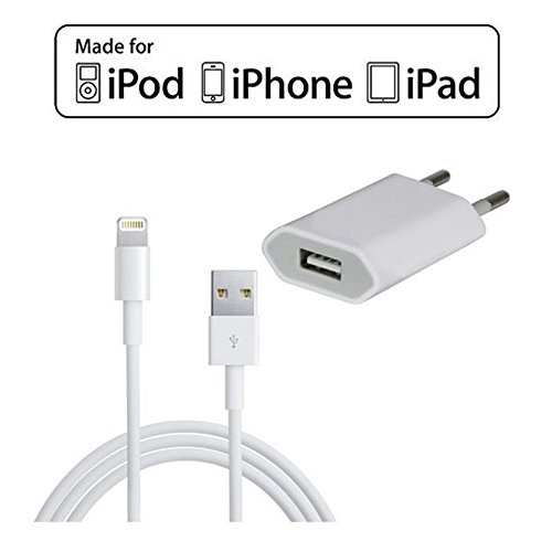 Câble + prise secteur (Pack 2 en 1) pour iPhone 5/5S/5C - iPad Mini et nouvelle génération