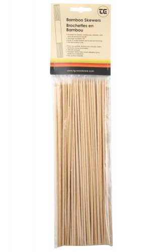 100 X Skewers In Bamboo (carded) Size 250mm 02070 By Tandg