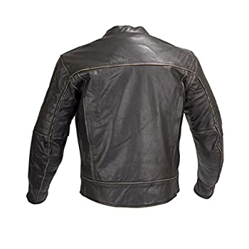 Men Motorcycle Armor Leather Jacket Vintage Style by Xtreemgear Black MBJ024