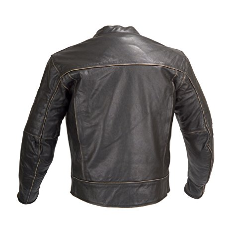 Men Motorcycle Armor Leather Jacket Vintage Style by Xtreemgear Black MBJ024 2