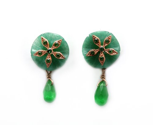 'Deep Forest' Collection by Israeli Amaro Jewelry Studio Earrings Set with a Flower Shaped Aventurine Stone, Set with a Dangle Jadeite Drop, All Accented with a 24K Rose Gold Plated Flower with Swarovski Crystals