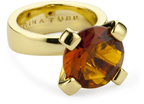 Trina Turk Gold Solitaire Topaz Ring, Size 6