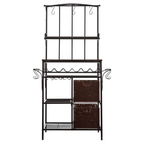 Southern Enterprises Metal & Rattan Bakers Rack with Wine Rack