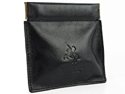 Visconti Mens Genuine Quality Small Italian Style Leather Coin Purse Pouch / Change Wallet or Key Holder (Black)