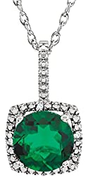 Sterling Silver, Round created-emerald with diamond accents Pendant Necklace, 18''