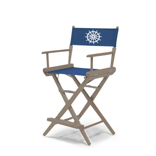 Telescope Casual World Famous Counter Height Director Chair, Rustic Grey Finish With Marine Blue And White Motif Cover