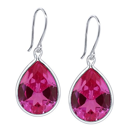 20.50 Ct Pear Shape Pink Created Sapphire 925 Sterling Silver Dangle Earrings