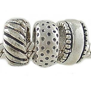Set of 3 Different Sterling Silver Spacer Beads for European Charm Bracelet
