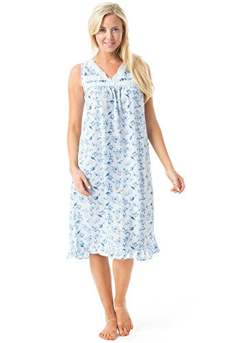 Casual Nights Women's Sleeveless Floral Lace and Ribbon Nightgown - Blue Floral - Large