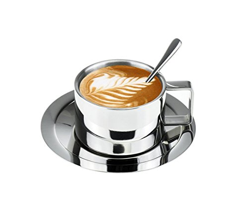 Lastest Double Wall Stainless Steel Coffee Cup Set Espresso Cup Cappuccino Cups Coffee Mug with Spoon and Saucer Fit for 6 OZ or 8 Oz (Espresso Cups Vintage compare prices)