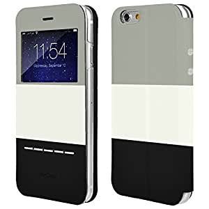 AirCase Tri-Colour iPhone 6s / 6 Leather Flip Case / Cover (Grey-White-Black)