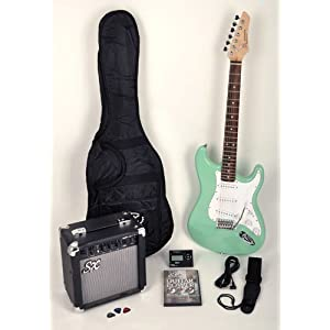Sx Rst Sgn Electric Guitar Package Surf Green W Free Amp Carry Bag