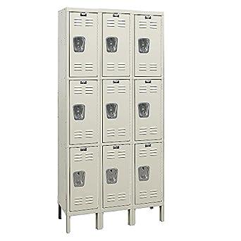 "Hallowell 3-Tier Galvanite Corrosion-Resistant Locker - 12x15x24"" Opening - 3 Lockers Wide - Set-Up"