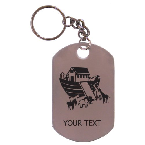 "Personalized Engraved Noah'S Ark Stainless Steel 2-1/2"" Dog Tag Keychain Gift For Men And Women Perfect Customizable Holiday Gift Or Birthday Present! Contact Seller For Personalization Or Leave A Gift Message At Checkout! front-815039"