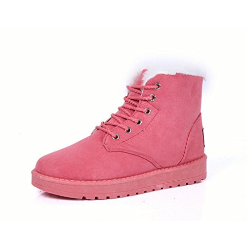 Winter Damen Stiefel Covermason Flache Absatz Schuhe Schneestiefel (36, Rosa)