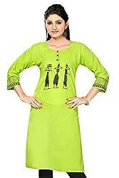 Designer Kurtis Long Khadi Green Kurtis