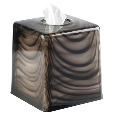 Interdesign York Tint Facial Tissue Box Cover Holder For Bathroom Vanity Countertops Black
