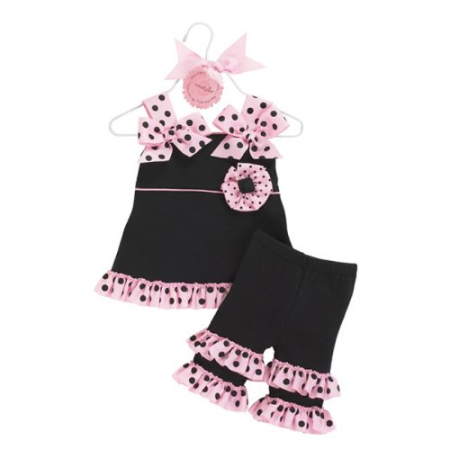 Mud Pie Baby Girls Perfectly Princess Tunic and Ruffle Capri Outfit
