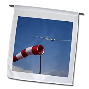 fl_85853_1 Danita Delimont - Aviation - Glider, Wind Sock, Aviation, Airport, Santiago, Chile - SA05 DWA0059 - David Wall - Flags - 12 x 18 inch Garden Flag