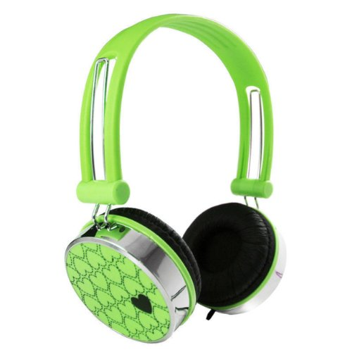 Nuoya001 Love Pattern Overhead Boys Girls Dj Kids Headphones Ipod Iphone Leappad 2 /Green