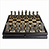 Pewter Medieval Chess &amp; Checkers Set with a 15 inch Camphor Wood Board with Storage Drawer, By Wood Expressions