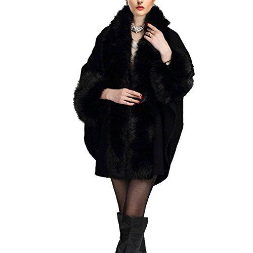 KAXIDY Donna eco-pelliccia Mantelli Cappotti Poncho e Mantelle Soprabito Soprabito (Nero)