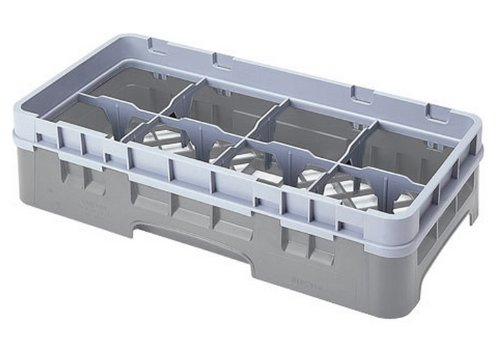 Cambro 8Hs434-151 5-1/4-Inch Camrack Polypropylene Stemware And Tumbler Glass Rack With 8 Compartments, Half Size, Soft Gray