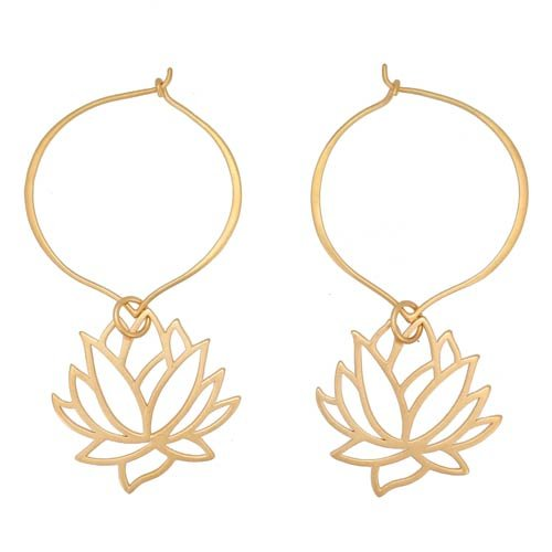 Lotus Flower Open Design Dangle Hoop Earrings in Gold Vermeil, #7574