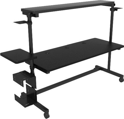 Versa Center Computer Desk - Black Frame, Black Surface, 60