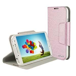 JETech® Slim Fit Galaxy S4 Hülle Schutzhülle Etui Tasche mit Eingebautem Ständer und Eingebautem Magnet für Einschlaf/Aufwach für Samsung Galaxy S IV i9500 Case Cover (Samsung S4, Brieftasche - Rosa)